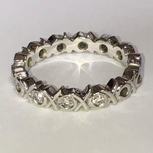 18K White Gold Tiffany & Co. Diamond Love XO Ring